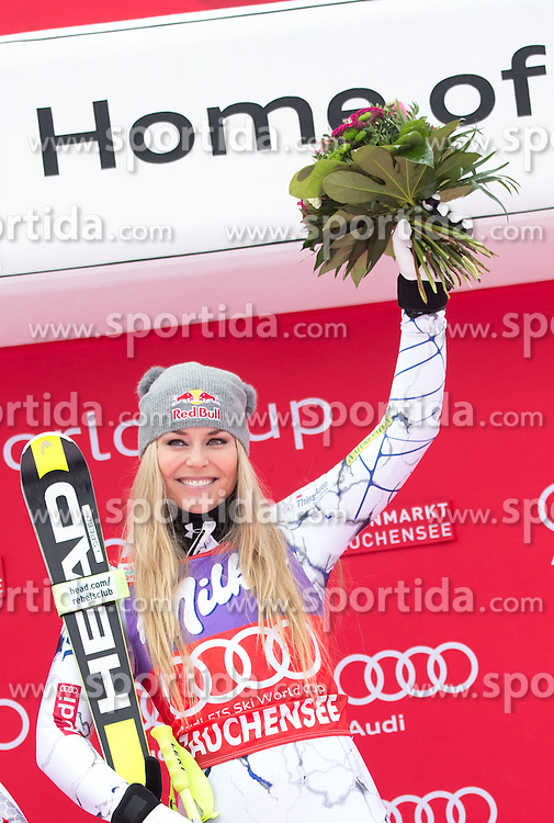 09.01.2016, Keelberloch Rennstrecke, Altenmarkt Zauchensee, AUT, FIS Weltcup Ski Alpin, Zauchensee, Abfahrt, Damen, Siegerehrung, im Bild Lindsey Vonn (USA, 1. Platz) // winner Lindsey Vonn of the USA celebrates on Podium after ladies Downhill of the Zauchensee FIS Ski Alpine World Cup at the Keelberloch Rennstrecke in Altenmarkt Zauchensee, Austria on 2016/01/09. EXPA Pictures © 2016, PhotoCredit: EXPA/ Johann Groder