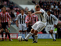 Photo: Jed Wee.<br /> Sunderland v Newcastle United. The Barclays Premiership. 17/04/2006.<br /> <br /> Newcastle's Alan Shearer scores from the penalty spot to give them the lead.