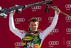 Second placed Alexis Pinturault of France at flower ceremony after the Men's Giant Slalom of FIS Ski World Cup Alpine Kranjska Gora, on March 5, 2011 in Vitranc/Podkoren, Kranjska Gora, Slovenia.  (Photo By Vid Ponikvar / Sportida.com)