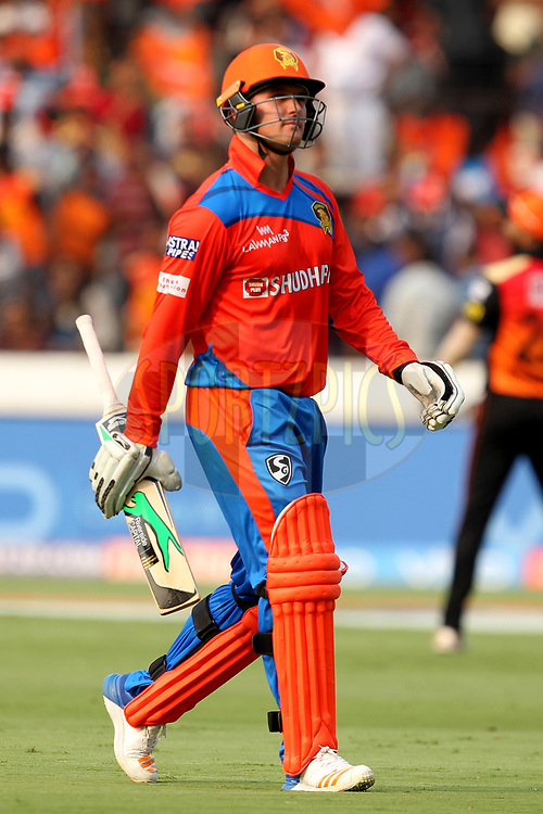 Jason Roy of Gujrat Lions departs during match 6 of the Vivo 2017 Indian Premier League between the Sunrisers Hyderabad and the Gujarat Lions held at the Rajiv Gandhi International Cricket Stadium in Hyderabad, India on the 9th April 2017Photo by Prashant Bhoot - IPL - Sportzpics