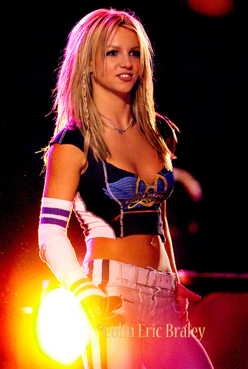 Pop music superstar Brittney Spears performs during the halftime show at Super Bowl XXXV in Tampa, Florida, January 28, 2001.