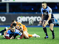 Will Boyde of Cardiff Blues offloads to Josh Adams<br /> <br /> Photographer Simon King/Replay Images<br /> <br /> Guinness PRO14 Round 9 - Cardiff Blues v Dragons - Thursday 26th December 2019 - Cardiff Arms Park - Cardiff<br /> <br /> World Copyright © Replay Images . All rights reserved. info@replayimages.co.uk - http://replayimages.co.uk