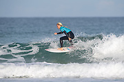 Ellie Turner (UK) is victorious in her 2nd Round Heat during the 2019 Boardmasters Roxy Pro Surf Competition, WSL Qualifier at Fistral Beach, Newquay, Cornwall on 8 August 2019.