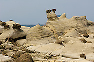 "Keelung, Taiwan has some beautiful geology in its Hoping Coastal Park,  Here, sandstone is being slowly eroded away leaving ""mushroom rock"" formations."