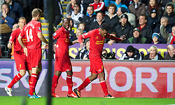 6.09.2013, Liberty Stadion, Swansea, ENG, Premier League, Swansea City vs FC Liverpool, 4. Runde, im Bild Liverpool's Daniel Sturridge celebrates scoring the first equalising goal against Swansea City during the English Premier League 4th round match between Swansea City AFC and Liverpool FC at the Liberty Stadium, Swansea, Great Britain on 2013/09/16. EXPA Pictures © 2013, PhotoCredit: EXPA/ Propagandaphoto/ David Rawcliffe<br /> <br /> ***** ATTENTION - OUT OF ENG, GBR, UK *****