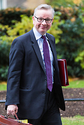 London, October 31 2017. Secretary of State for Environment, Food and Rural Affairs Michael Gove leaves the weekly UK cabinet meeting at Downing Street. © Paul Davey