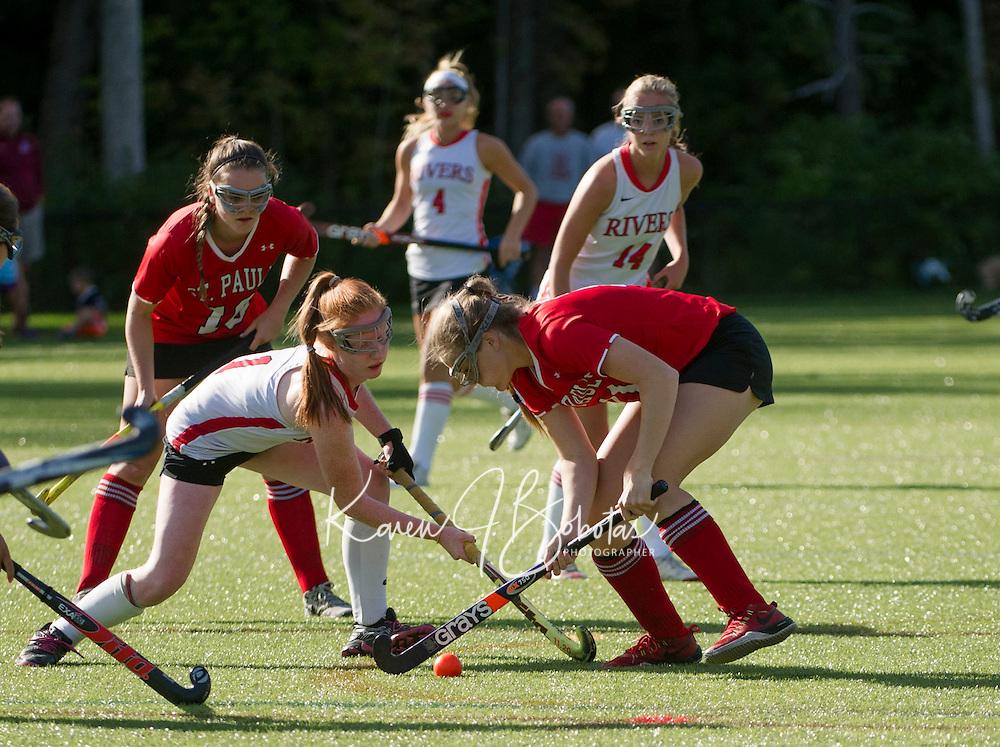 St Paul's School Field Hockey versus Rivers.  ©2015 Karen Bobotas Photographer