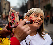 An England having face paint applied<br /> <br /> Photographer Simon King/Replay Images<br /> <br /> Six Nations Round 3 - Wales v England - Saturday 23rd February 2019 - Principality Stadium - Cardiff<br /> <br /> World Copyright © Replay Images . All rights reserved. info@replayimages.co.uk - http://replayimages.co.uk