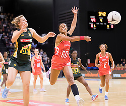 South Africa's Maryka Holtzhausen, left, and England's Stacey Francis compete for the ball in the Netball Quad Series netball match, ILT Stadium Southland, Invercargill, New Zealand, Sept. 3 2017.  Credit:SNPA / Adam Binns ** NO ARCHIVING**