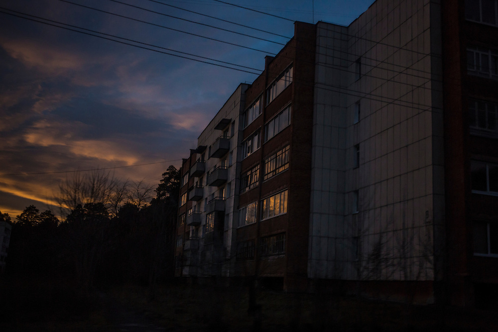 An apartment block at sunset on Wednesday, November 13, 2013 in Asbest, Russia.