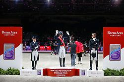 Podium Final Lyon 2014<br /> 1. Dujardin Charlotte - Valegro<br /> 2. Langehanenberg Helen - Damon Hill<br /> 3. Gal Edward - Glock's Undercover<br /> Reem Acra FEI World Cup™ Dressage Final 2013/2014<br /> Lyon 2014<br /> © Dirk Caremans
