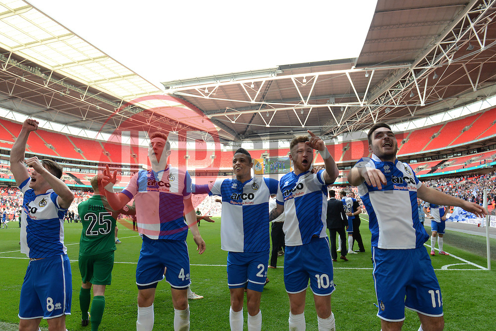 Bristol Rovers players celebrate - Photo mandatory by-line: Dougie Allward/JMP - Mobile: 07966 386802 - 17/05/2015 - SPORT - football - London - Wembley Stadium - Bristol Rovers v Grimsby Town - Vanarama Conference Football