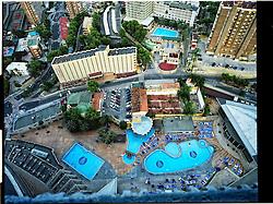Benidorm, Valencia, Spain<br /> Buildings and swimming pools in Benidorm.<br /> &copy;Carmen Secanella