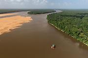 Gold Dredger<br /> Essequibo River<br /> Iwokrama<br /> Rurununi<br /> GUYANA<br /> South America<br /> Longest river in Guyana