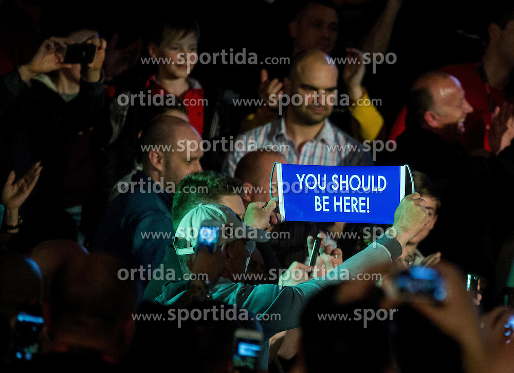 Supporters prior to the fight between Dejan Zavec alias Jan Zaveck of Slovenia (Red) and Sasha Yengoyan (Blue) of Belgium for World WBF Champion during First Class Boxing event, on April 11, 2015 in Arena Tabor, Maribor, Slovenia. Photo by Vid Ponikvar / Sportida