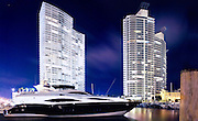 The Icon and Murano Grande condo towers at the Miami Beach Marina at night, photographed for their developer, The Related Group