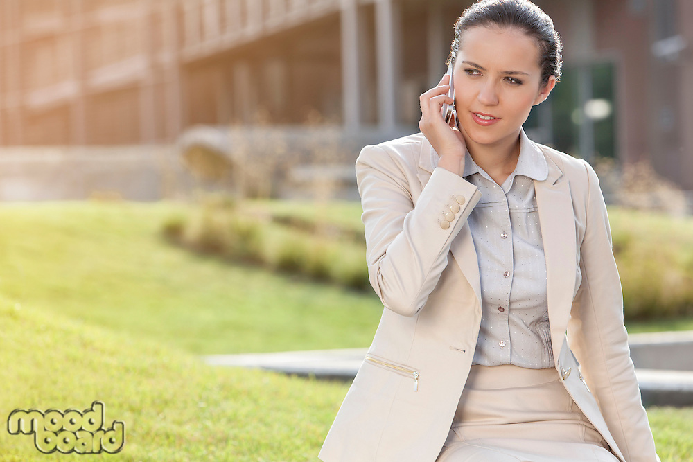Beautiful young businesswoman conversing on mobile phone while looking away