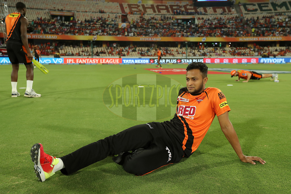 Shakib Al Hasan of Sunrisers Hyderabad warming up during match twenty five of the Vivo Indian Premier League 2018 (IPL 2018) between the Sunrisers Hyderabad and the Kings XI Punjab  held at the Rajiv Gandhi International Cricket Stadium in Hyderabad on the 26th April 2018.<br /> <br /> Photo by: Prashant Bhoot /SPORTZPICS for BCCI