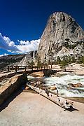 Nevada Fall bridge under Liberty Cap, Yosemite National Park, California USA
