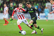 Forest Green Rovers Elliott Frear(17) during the EFL Sky Bet League 2 match between Cheltenham Town and Forest Green Rovers at Jonny Rocks Stadium, Cheltenham, England on 2 November 2019.