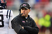 FAYETTEVILLE, AR - NOVEMBER 22:  Head Coach Hugh Freeze of the Ole Miss Rebels on the field during a timeout in the second quarter against the Arkansas Razorbacks in second quarter at Razorback Stadium on November 22, 2014 in Fayetteville, Arkansas.  (Photo by Wesley Hitt/Getty Images) *** Local Caption *** Hugh Freeze