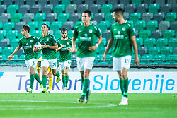 Players of NK Olimpija after scoring goal during football match between NK Olimpija and NK Domzale in 2nd Round of Prva liga Telekom Slovenije 2019/20, on July 21st, 2019, in Stadium Stozice, Ljubljana, Slovenia. Photo by Grega Valancic / Sportida