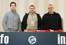 Roman Pungartnik, Uros Serbec and Matjaz Tominec during 3rd day of 10th EHF European Handball Championship Serbia 2012, on January 17, 2012 in Hotel Srbija, Vrsac, Serbia.  (Photo By Vid Ponikvar / Sportida.com)
