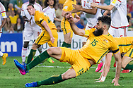 March 28 2017: Socceroos Mile JEDINAK (15) just misses a goal at the 2018 FIFA World Cup Qualification match, between The Socceroos and UAE played at Allianz Stadium in Sydney.