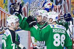 Team HDD Tilia Olimpija celebrate during ice-hockey match between HDD Tilia Olimpija and EC Red Bull Salzburg in 49th Round of EBEL league, on Februar 13, 2011 at Hala Tivoli, Ljubljana, Slovenia. (Photo By Matic Klansek Velej / Sportida.com)