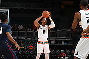 December 6, 2016: Bryce Brown #11 of Miami in action during the NCAA basketball game between the Miami Hurricanes and the South Carolina State Bulldogs in Coral Gables, Florida. The 'Canes defeated the Bulldogs 82-46.