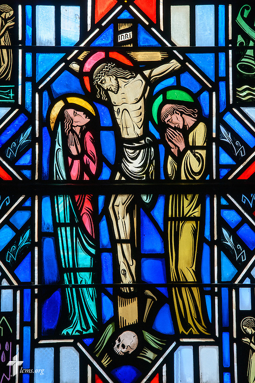 Stained glass at Luther Memorial Chapel depicts the crucifixion, Matthew 27:45, on Friday, Jan. 29, 2016, in Shorewood, Wis. LCMS Communications/Erik M. Lunsford
