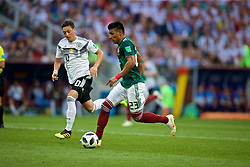 MOSCOW, RUSSIA - Sunday, June 17, 2018: Mexico's Jesus Gallardo during the FIFA World Cup Russia 2018 Group F match between Germany and Mexico at the Luzhniki Stadium. (Pic by David Rawcliffe/Propaganda)