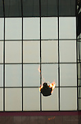 Stuntman Bob Brown is seen in a sequence of photos as he prepaired for, and carried out a 20 story fall. The stunt he performed - jumping through a window after lighting himself on fire - was taped for the World Stunt Awards on ABC. Brown would fall 20 stories before landing on an airbag at a Warner Center building in Woodland Hills, CA 5/18/2002(John McCoy/Photographer)