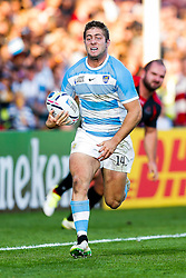 Argentina Winger Santiago Cordero breaks clear going on to score a try - Mandatory byline: Rogan Thomson/JMP - 07966 386802 - 25/09/2015 - RUGBY UNION - Kingsholm Stadium - Gloucester, England - Argentina v Georgia - Rugby World Cup 2015 Pool C.