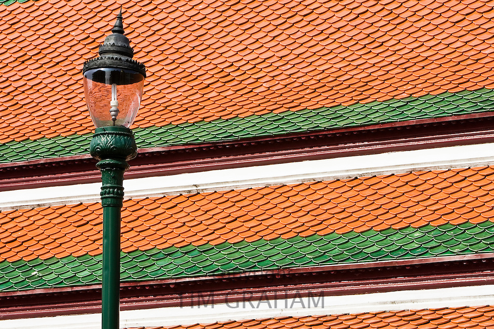 Roofs and street lamp inside The Grand Palace and Temple Complex, Bangkok, Thailand