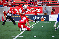 NORMAL, IL - September 07: Sam Fenalson for the extra point during a college football game between the ISU (Illinois State University) Redbirds and the Morehead State Eagles on September 07 2019 at Hancock Stadium in Normal, IL. (Photo by Alan Look)