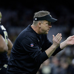 Jan 7, 2018; New Orleans, LA, USA; New Orleans Saints head coach Sean Payton reacts as his team warms up before the NFC Wild Card playoff football game against the Carolina Panthers at Mercedes-Benz Superdome. Mandatory Credit: Derick E. Hingle-USA TODAY Sports