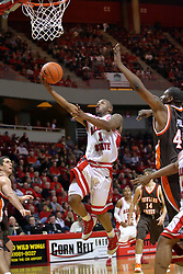 06 December 2008: Emmanuel Holloway drives the lane to finish off a break away with a basket during a game where the  Illinois State University Redbirds extended their record to 8-0 with a 78-65 win over the Bowling Green Falcons on Doug Collins Court inside Redbird Arena on the campus of Illinois State University in Normal Illinois