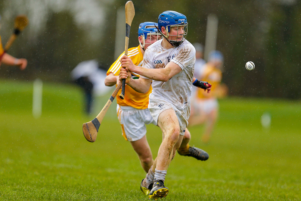 Leinster Minor Hurling - Shield Final at St Feckins GFC, 2nd April 2016<br /> Antrim vs Kildare<br /> Simon Leacy (Kildare) & Tiarnan Murphy (Antrim)<br /> Photo: David Mullen /www.cyberimages.net / 2016