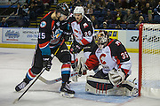 KELOWNA, CANADA - NOVEMBER 15:  Ty Edmonds #35 of the Prince George Cougars makes a save on Tomas Soustal #15 of the Kelowna Rockets at the Kelowna Rockets game on November 15, 2016 at Prospera Place in Kelowna, British Columbia, Canada.  (Photo By Cindy Rogers/Nyasa Photography,  *** Local Caption *** Josh Anderson #28 of the Prince George Cougars