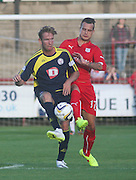 Brechin's Robert Thomson and Dundee's Kyle Benedictus - Brechin City v Dundee, pre-season friendly at Dens Park<br /> <br />  - &copy; David Young - www.davidyoungphoto.co.uk - email: davidyoungphoto@gmail.com