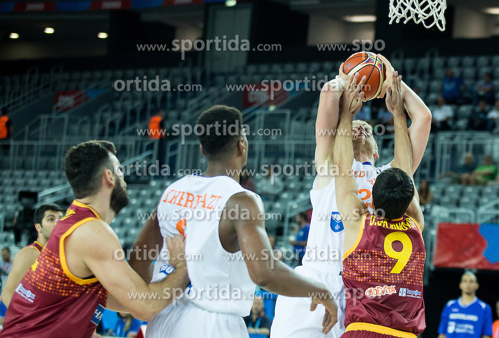 Henk Norel of Netherlands vs Damjan Stojanovski of Macedonia during basketball match between Netherlands and Macedonia at Day 2 in Group C of FIBA Europe Eurobasket 2015, on September 6, 2015, in Arena Zagreb, Croatia. Photo by Vid Ponikvar / Sportida
