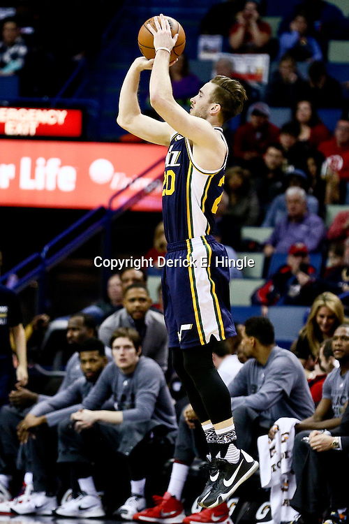 Feb 10, 2016; New Orleans, LA, USA; Utah Jazz forward Gordon Hayward (20) shoots against the New Orleans Pelicans during the first quarter of a game at the Smoothie King Center. Mandatory Credit: Derick E. Hingle-USA TODAY Sports