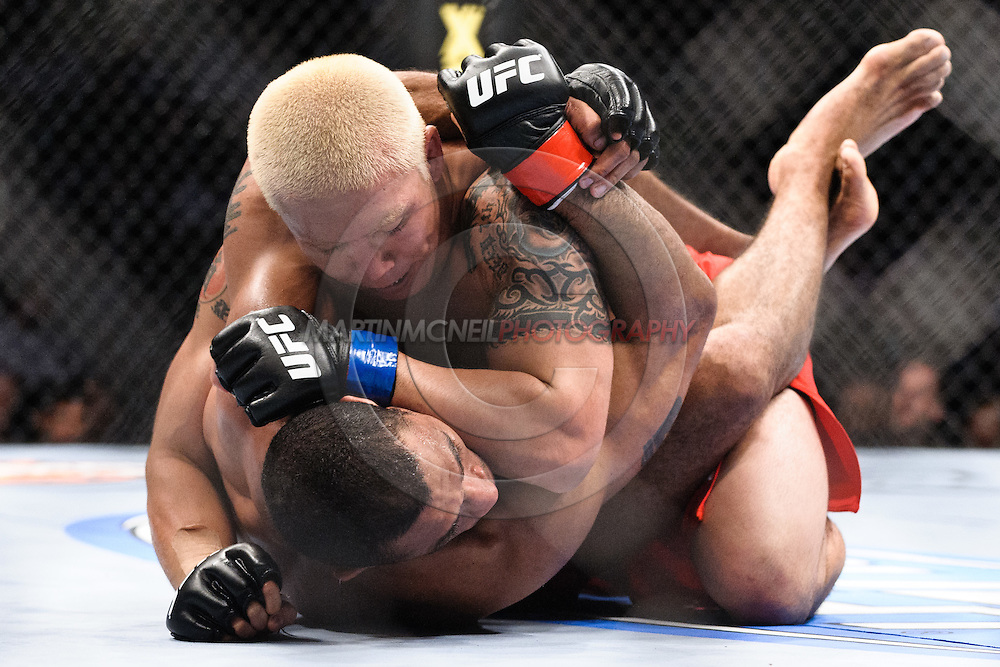 "ATLANTA, GEORGIA, SEPTEMBER 6, 2008: Ryo Chonan (top) lands an elbow strike to the head of Roan Carneiro during ""UFC 88: Breakthrough"" inside Philips Arena in Atlanta, Georgia on September 6, 2008"