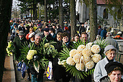 Large crowds flock to all the cemeteries on All Saints Day to visit family member's graves.  Lodz, Poland.