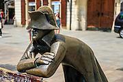 Slovakia, Bratislava, Historic center statue by sculptor Juraj Melis representing a Napoleonic soldier in front of the Kutscherfeld palace