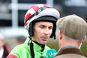 Jockey Danny Cook before winning The Class 1 bet365 Charlie Hall Steeple Chase over 3m (£100,000) on DEFINITLY RED during the Bet365 Meeting at Wetherby Racecourse, Wetherby, United Kingdom on 3 November 2018. Picture by Mick Atkins.