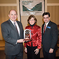 Kevin Smith, Sheraton Fourpoints, recipient of Large Business of the Year Award from NVCC, Sue McQuaid, Pres NVCC, Peter Chase, Chairman NVCC at Neponset Valley Chamber of Commerce's 115th Annual Meeting and Awards Breakfast