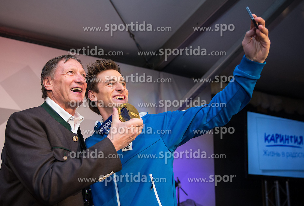 12.02.2014, Austria Tirol House, Sochi, RUS, Sochi 2014, Kärnten Abend, im Bild die beiden Olympia Sieger Franz Klammer und Matthias Mayer (AUT) // olympic Champions Franz Klammer and Matthias Mayer at the Carinthia evening in Austria house Tyrol at the Olympic Winter Games 'Sochi 2014' at the Austria Tirol House in Krasnaya Polyana, Russia on 2014/02/12. EXPA Pictures © 2014, PhotoCredit: EXPA/ Johann Groder