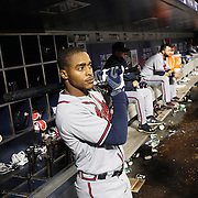 NEW YORK, NEW YORK - MAY 02:  Mallex Smith #17 of the Atlanta Braves in the dugout preparing to bat during the Atlanta Braves Vs New York Mets MLB regular season game at Citi Field on May 02, 2016 in New York City. (Photo by Tim Clayton/Corbis via Getty Images)